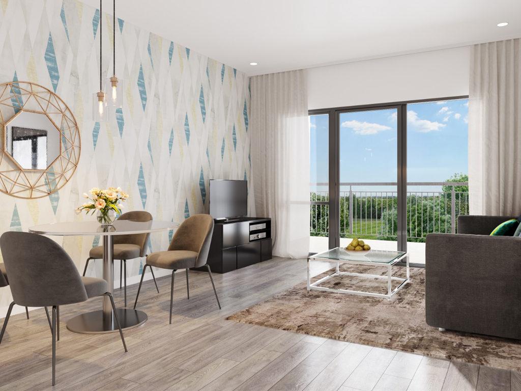 Residential Scheme London Borough Of Sutton Living Room CGI | Savile Brown